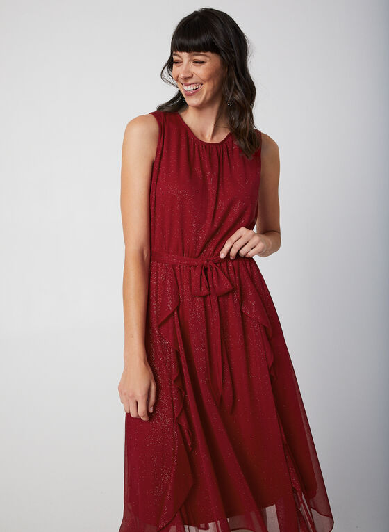 Sleeveless Glitter Dress, Red, hi-res