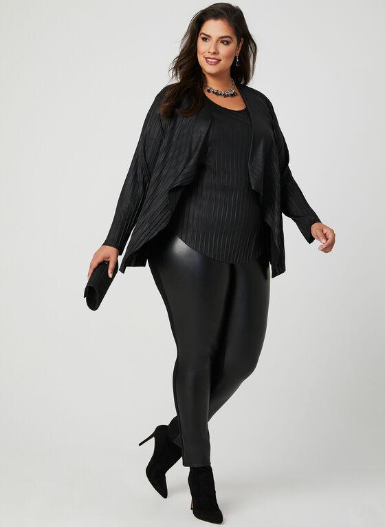 Linea Domani - Ensemble haut et cardigan plissés, Noir, hi-res