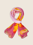 Oblong Tulip Print Scarf, Pink