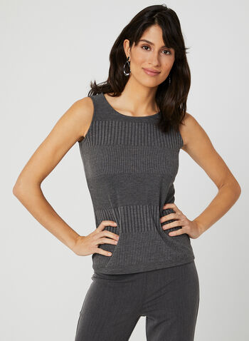 Sleeveless Rib Knit Top, Grey, hi-res