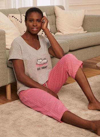 Ensemble pyjama haut et capri imprimés , Gris,  printemps été 2021, pyjama, ensemble, deux pièces, haut, capri, manches courtes, encolure V, imprimé, message, liens à nouer, motif pois, chat