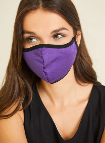Monochrome Cotton Mask, Purple,  mask, monochrome, cotton, adjustable, washable, reusable, fall winter 2020