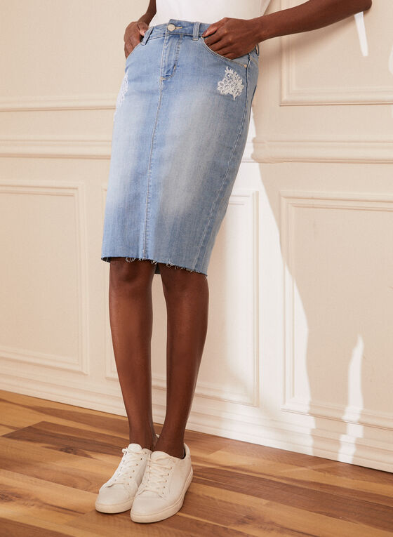 Embroidered Detail Denim Skirt, Blue