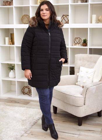 Nuage - Manteau matelassé en duvet recyclé, Noir,  nuage, manteau, exclusivité laura, confortable, extensible dans les deux sens, capuchon amovible, bordure détachable, fausse fourrure, fermoir, col montant, manches longues, poignets en tricot épais, détails en cuir végane, matelassé, rembourrage technofill, duvet, bouteilles de plastique recyclées, chaleur supérieure, résistant à l'eau, lavable à la machine, automne hiver 2021