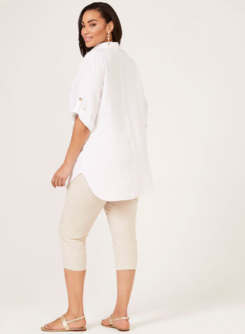 Button Down Linen Blouse, White, hi-res