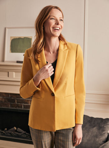 One-Button Closure Jacket , Yellow,  jackets, one-button closure, notch collar, long sleeves, spring 2020