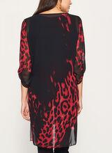 Tunique en mousseline à motif léopard, Noir, hi-res