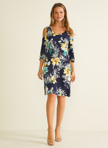 Floral Print Cold Shoulder Dress, Blue,  dress, floral, cold shoulder, v-neck, 3/4 sleeves, jersey, spring summer 2020