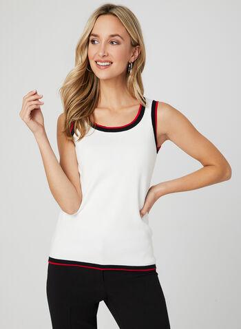 Haut sans manches à bordures contrastantes, Blanc, hi-res