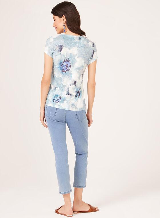 T-shirt motif floral à manches courtes et strass, Bleu, hi-res