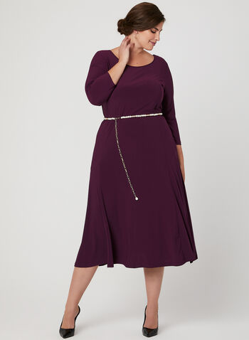 Nina Leonard – Pearl Detail Belted Midi Dress, Purple, hi-res