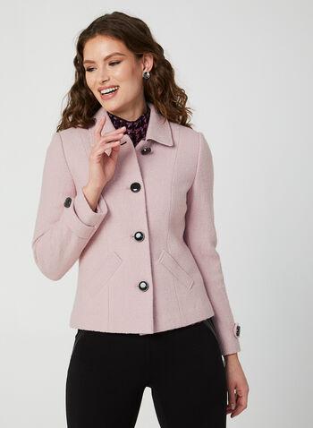 Veste en laine mélangée, Violet,  veste, manteau, laine, col chemisier, fermeture boutonnée, épaulettes, poches, automne hiver 2019