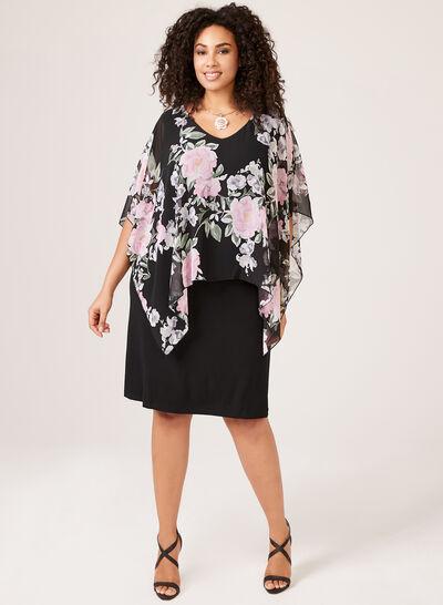 Floral Print Poncho Dress