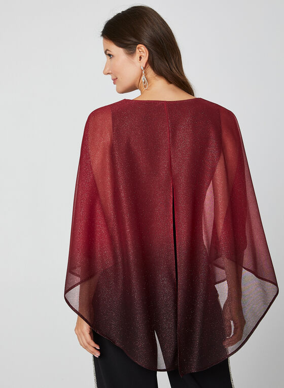 Blouse poncho en maille filet pailletée, Rouge