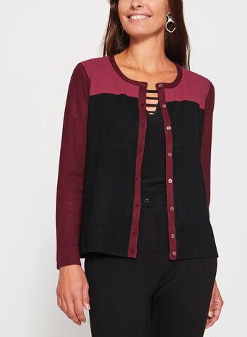 Cardigan en tricot et blocs de couleurs , Rouge, hi-res