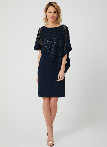 Sequin Lace Poncho Dress, Blue,  spring 2019, short sleeves, jersey, asymmetric