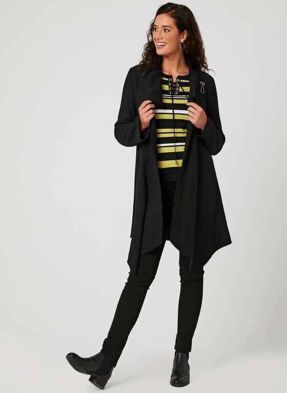 Pull en tricot avec rayures et similicuir , Noir, hi-res