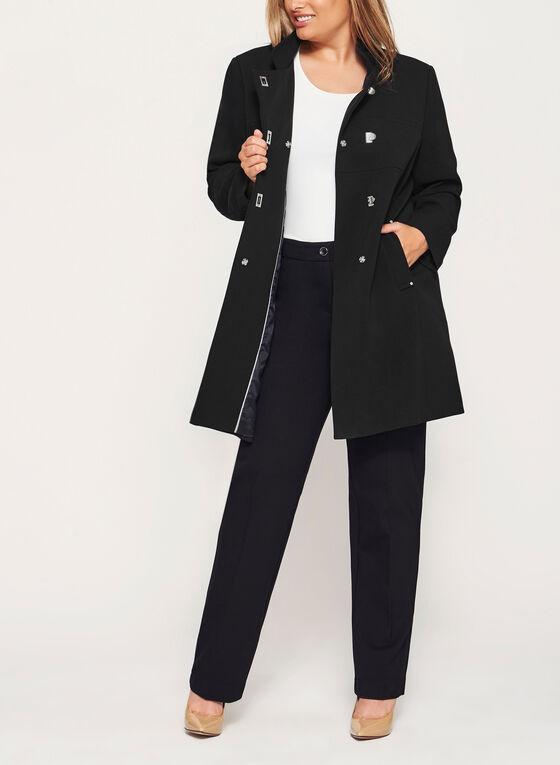 Manteau à col officier et détails couture, Noir, hi-res