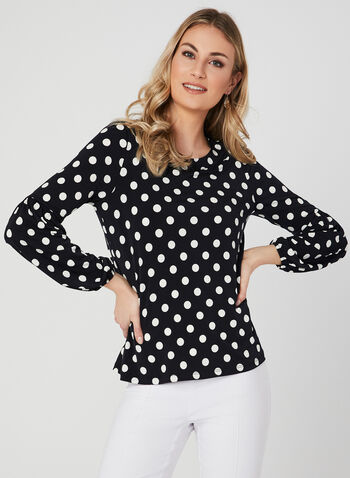 Dot Print Balloon Sleeve Top, Blue, hi-res