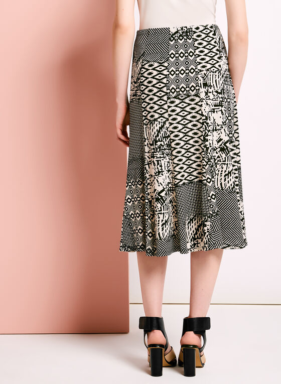 Mixed Graphic Print A-Line Skirt, Black, hi-res