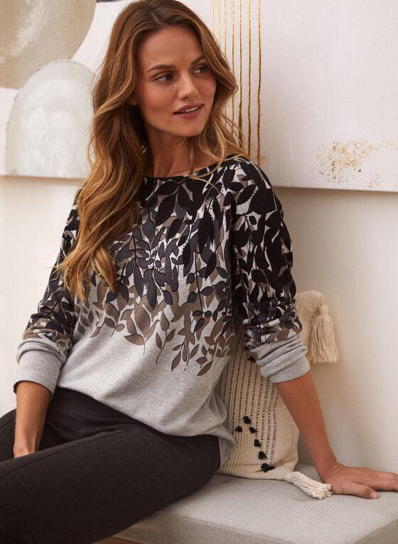 Long Sleeve Leaf Print Sweater, Grey
