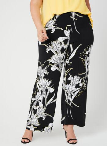 Frank Lyman - Pantalon jambe large et imprimé floral, Noir, hi-res