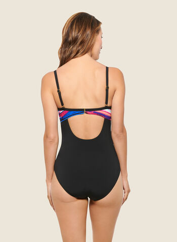Christina - Stripe Print Crossover Swimsuit, Black,  swimsuit, swimwear, stripe print, crossover, one piece, fall winter 2020