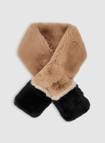 Faux Fur Colour Block Scarf, Brown,  scarf, faux fur, faux fur scarf, colour block, fall 2019, winter 2019