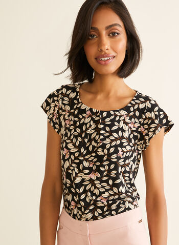 Floral Print Top, Black,  spring summer 2020, jersey fabric, short sleeves, floral