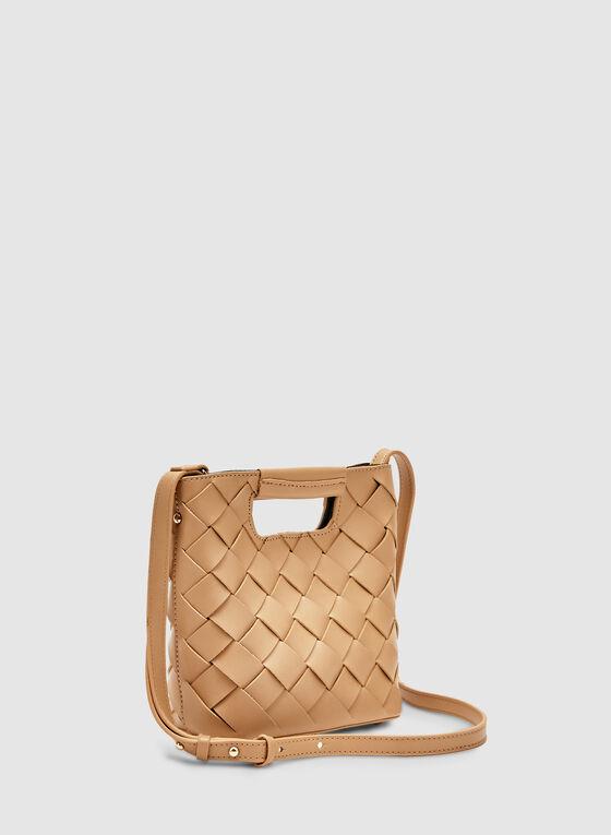 Basket Weave Handbag, Brown