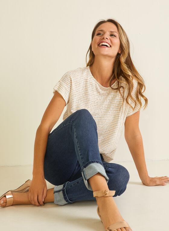 T-shirt rayé aspect lin, Blanc