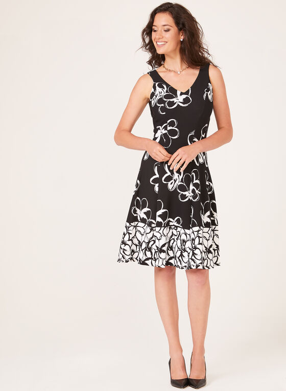 Floral Print Crepe Dress, Black, hi-res
