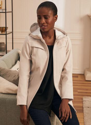 Novelti - Soft Shell Coat, Off White,  spring summer 2020, soft shell coat, water resistant, hood, zipper