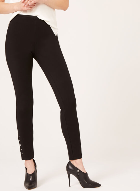 Pull-on Lace Detail Ponte Leggings, Blue, hi-res