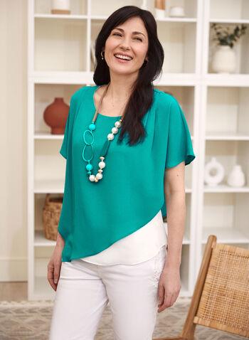 Asymmetric Cape Sleeve Blouse, Blue,  top, blouse, asymmetric, cape, poncho, crepe, spring summer 2021