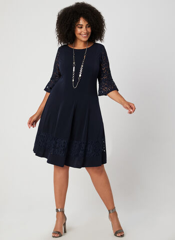 Fit & Flare Lace Sleeve Dress, Blue, hi-res,  lace, illusion, ¾ sleeves, 3/4 sleeves, jersey, fall 2019, winter 2019