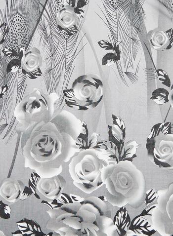 Foulard à motif roses, Gris, hi-res