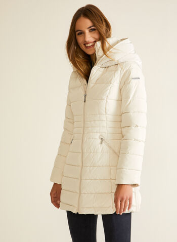 Laundry - Vegan Down Quilted Coat, Off White,  fall winter 2020, coat, jacket, winter coat, quilted, vegan down, made in canada, laundry, hood, satin, waterproof
