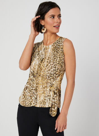 Animal Print Tie Detail Top, Yellow, hi-res