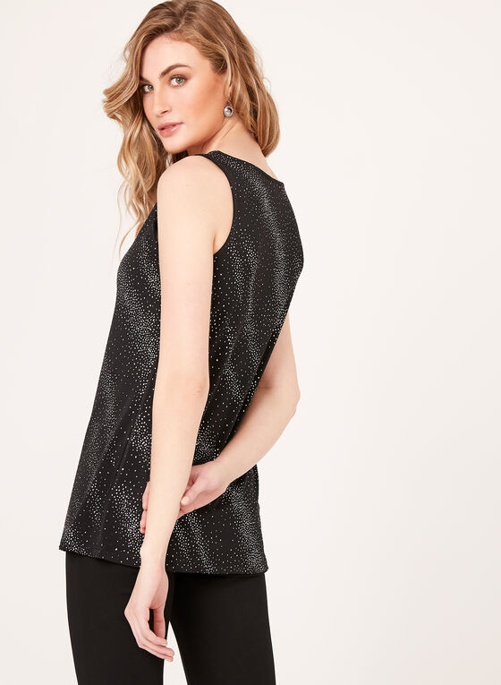 Sleeveless Glitter Jersey Top , Black, hi-res