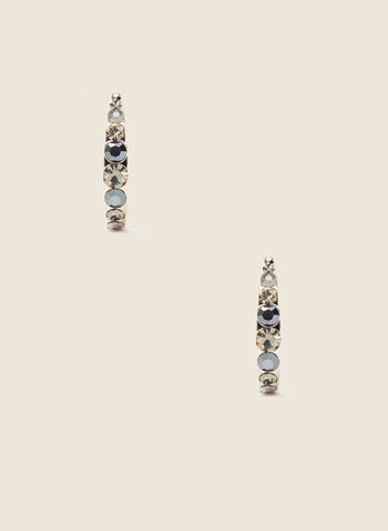 Stone Detail Open Hoop Earrings, Grey,  jewellery, earrings, hoop, stone, faceted, metallic spring summer 2021
