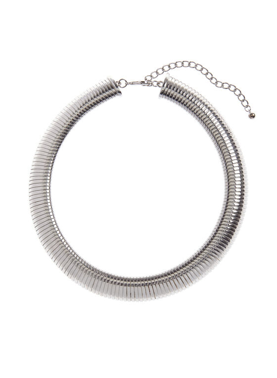 Snake Chain Collar Necklace, Silver, hi-res