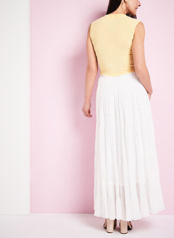 Tiered Maxi Peasant Skirt , White, hi-res