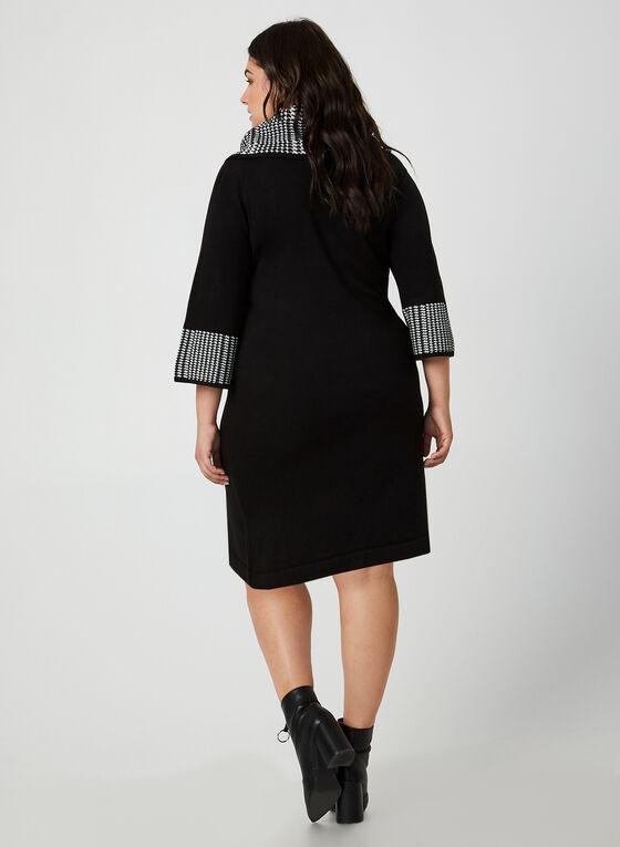 Robe en tricot à détails pied-de-poule, Noir