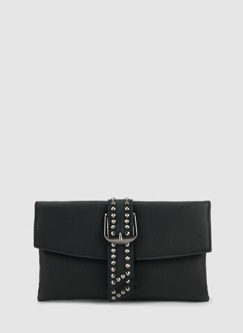 Pochette à rabat et détail ceinture, Noir, hi-res,  pochette, rabat, ceinture, détails cloutés, tissu, automne hiver 2019