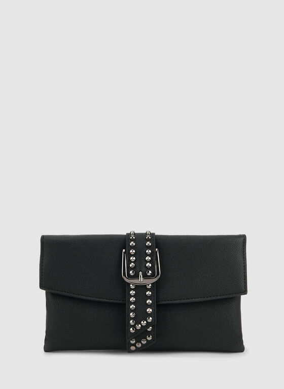Belt Detail Clutch, Black