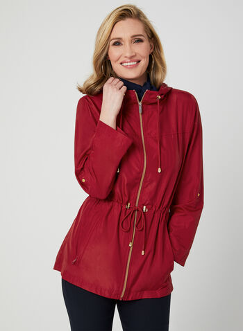 Hooded Packable Anorak, Red, hi-res,  anorak, rain wear, zipper front, hood, packable, spring 2019