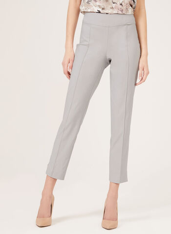 Slim Leg Pull-On Ankle Pants, Grey, hi-res