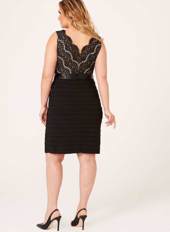 Sequin Lace Shutter Dress, Black, hi-res