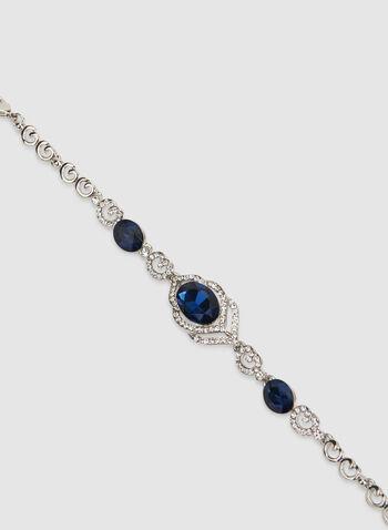 Bracelet à cristaux et pierres facettées, Bleu,  bracelet, pierres facettées, cristaux, automne hiver 2019